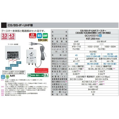 DXアンテナ 家庭用ブースターCS/BS-IF・UHF帯 33dB/43dB共用形 2K・4K・8K対応GCU433D1S