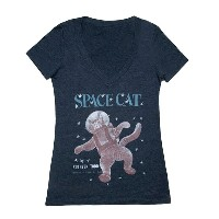 【Out of Print】 Ruthven Todd / Space Cat V-Neck Tee (Midnight Navy) (Womens)