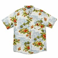 THE QUIET LIFE ザ クワイエット ライフ / アロハ柄 半袖 ボタンダウンシャツ / Hawaiian Button Down - White x L Blue / SP15-D2...