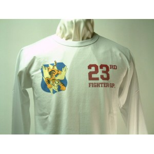 """Buzz Rickson's(バズリクソンズ)Long Sleeve T-Shirt FLYING TIGER (フライング タイガース)23rd FIGHTER GP. """"PINECASTLE A..."""