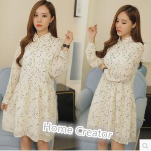 Pregnant women dress lapel open chest shirt in the long section of chiffon doll skirt tide