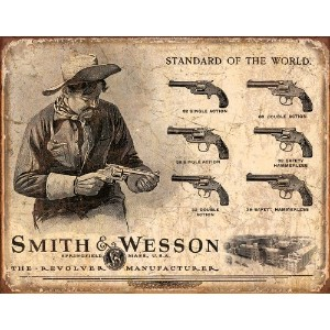 Smith and Wesson Revolvers Standard of the World Distressed Retro Vintage Tin Sign by Tin Signs