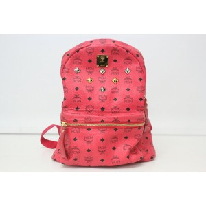 【SALE!】送料・代引き手数料無料!美品/中古/MCM/エムシーエム/スタッズ/リュックサック/ピンク