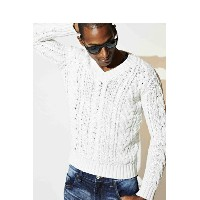 9200 by attack the mind 7 キュウセンニヒャク by アタックザマインドセブン Cable V-neck pullover long sleeve{-AFA}