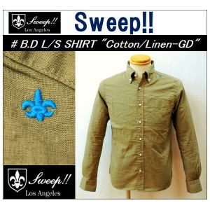 "【送料無料】【Sweep!!/スウィープ】-B.D L/S SHIRT COTTON/LINEN-GD ""KHAKI""-【smtb-m】"