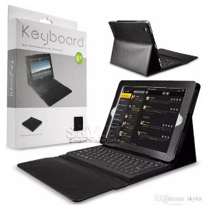 iPad用 Bluetooth 3.0ワイヤレス キーボード PUレザーケース for iPad Mini 2 3 iPad Air 2 Bluetooth Keyboard with Retail