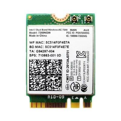 インテル Intel Dual Band Wireless-AC 7260 デュアルバンド 2.4/5GHz 802.11ac 最大867Mbps + Bluetooth 4.0 M.2...