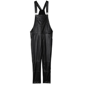 Unisex Leather Slim Pants Overalls suspender trousers