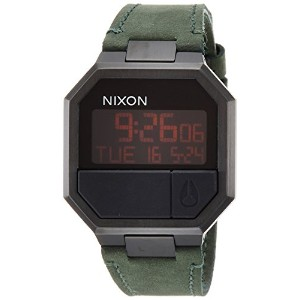 [ニクソン]NIXON 腕時計 RE-RUN LEATHER: ALL BLACK/GREEN NA944032-00  【正規輸入品】