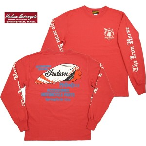 """INDIAN MOTORCYCLE (インディアンモーターサイクル) L/S T-SHIRT """"INDIAN FACE"""" (長袖バックプリント Tシャツ) I.RED(インディアンレッド)"""