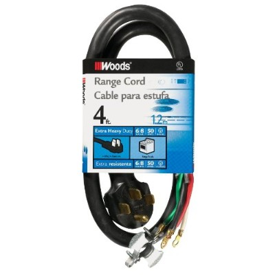 Woods 0761 6/2 - 8/2 SRDT 50-Amp Range Appliance Power Supply Cord, 4-Feet, Black by Woods