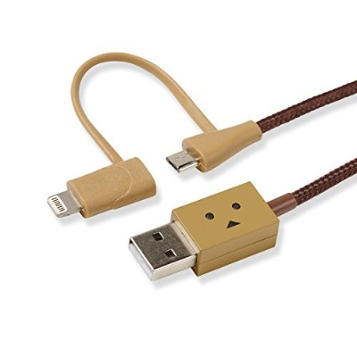 cheero DANBOARD 2in1 USB Cable with Micro USB & Lightning connector (25cm) 目が光る 充電 / データ転送 ケーブル
