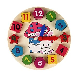 LexBlue(TM)Wooden 12 Number Colorful Puzzle Digital Geometry Clock Baby Educational Bricks Toy Baby...