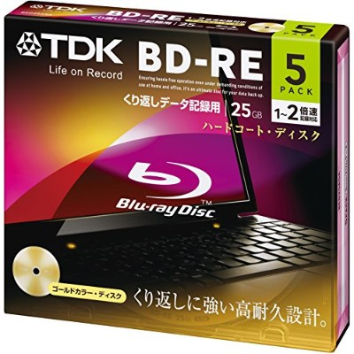 TDK データ用ブルーレイディスク BD-RE 25GB 1-2倍速 ゴールドディスク 5枚パック 5mmスリムケース BED25A5A