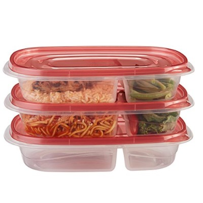 Rubbermaid TakeAlongs Rectangle Food Storage Container, Divided Dishes, 3 Pack, Red by Rubbermaid