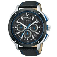 腕時計 パルサー Pulsar PT3391 Black & Blue Dial Leather Men's Watch【並行輸入品】