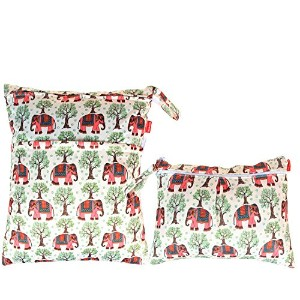 Damero 2pcs Pack Travel Baby Wet and Dry Cloth Diaper Organizer Bag, Elephants by Damero