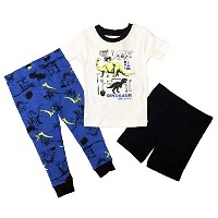 Carter's(カーターズ) ベビー ボーイズ 半袖 光る パジャマ 上下 3点セット (恐竜) Baby Boys' 3-Piece Pajama Set (2T(90))