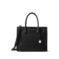 MICHAEL KORS MERCER LARGE BONDED-LEATHER TOTE BLACK [並行輸入品]