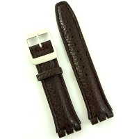 New 19mm (22mm) Sized Genuine Leather Strap Compatible for Swatch® Watch - Brown - 400CC22