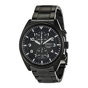 SEIKO セイコー MEN'S SNN233 CHRONOGRAPH STAINLESS STEEL BLACK ION PLATED BLACK DIAL WATCH 男性用 メンズ 腕時計 ...