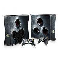 XBOX 360 Slim Skin Design Foils Faceplate Set - Bullet Holes Design