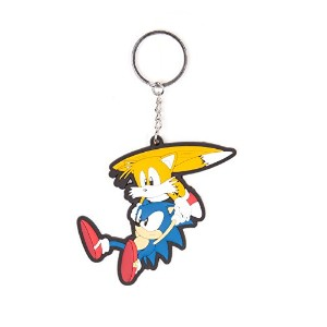 Sonic the hedgehog キーホルダー Keychain Sega And Tails 新しい 公式 Rubber