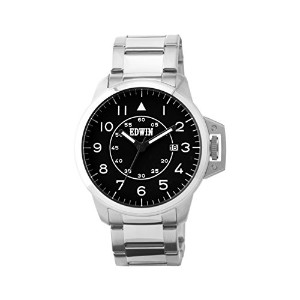 Edwin ESCAPE Men's 3 Hand-Date Watch, Stainless Steel Case and Band