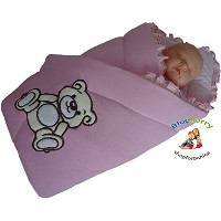 BlueberryShop Embroidered Jersey Swaddle Wrap Blanket Sleeping Bag for Newborn, baby shower GIFT...