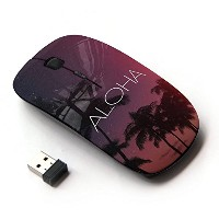 KOOLmouse [ ワイヤレスマウス 2.4Ghz無線光学式マウス ] [ Aloha Hawaii Night Sky Stars Text Pink ]