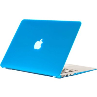 "Kuzy - AIR 13-inch ゴム引きハードケース Case Cover for Apple MacBook Air 13.3"" (A1369 and A1466) - Aqua Blue"