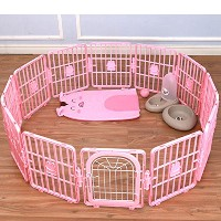 Pet Fence ペット ゲート ペット フェンス (海外直送品) (With Door, Pink)
