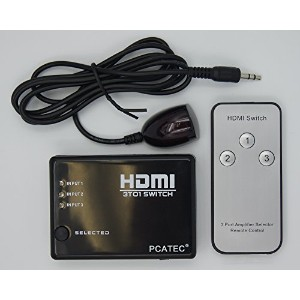 [PCATEC] HDMI切替器/セレクター 3HDMI to HDMI(メス→メス) 3D対応 V1.4( 3入力 to 1出力)リモコン付