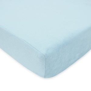 TL Care Heavenly Soft Chenille Crib Sheet, Blue, 28 x 52 by TL Care