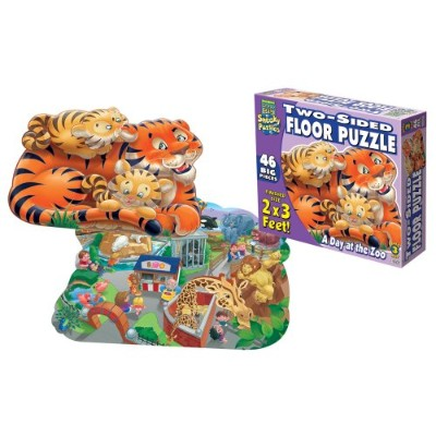 "2-Sided Sneaky Floor Puzzle 46pcs 24""X36""-A Day At The Zoo"