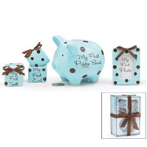 Baby Boy 4 Piece Keepsake Gift Set With Piggy Bank, First Tooth Box,First Curl Box and Photo Frame by Burton & Burton