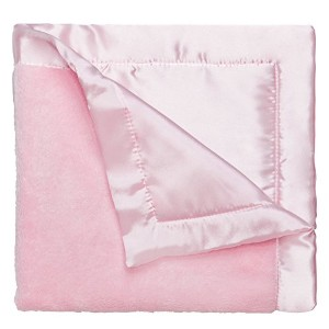 Elegant Baby Ultra Plush Blankie, Satin Border and Back Blankie 20 x 20 Inch in Pastel Pink by Elegant Baby
