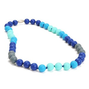 Chewbeads Bleecker Teething Necklace, 100% Safe Silicone - Turquoise by Chewbeads