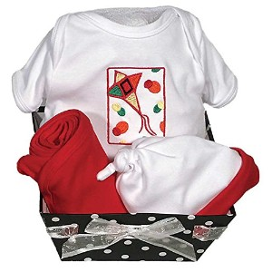Raindrops Delightful Brights Kite Body Suit Gift Set, Red/Black, 0-3 Months, 4 Piece by Raindrops