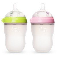 Comotomo Baby Bottle, Green/Pink, 8 Ounce, 2 Count (Discontinued by Manufacturer) by Comotomo ...
