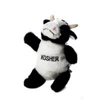 Copa Judaica Chewish Treat Kosher Cow Squeaker Plush Dog Toy, 7.5 by 7 by 11-Inch, Black and White