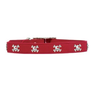 Rockinft Doggie 844587015282 .5 in. x 8 in. Leather Collar with Skull Rivets - Red