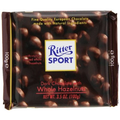 Ritter Sport, Dark Chocolate with Whole Hazelnuts, 3.5-Ounce Bars (Pack of 10) by Ritter Sport