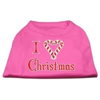 Mirage Pet Products 51-25-08 SMBPK I Heart Christmas Screen Print Shirt Bright Pink Sm - 10
