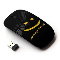 KOOLmouse [ ワイヤレスマウス 2.4Ghz 無線光学式マウス ] [ Smiley Yellow Black Always Smile Message ]