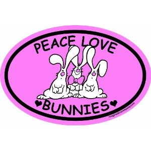 Imagine This 4-Inch by 6-Inch Car Magnet Oval, Peace Love Bunnies by Imagine This
