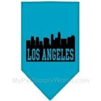 Mirage Pet Products 66-80 LGTQ Los Angeles Skyline Screen Print Bandana Turquoise Large