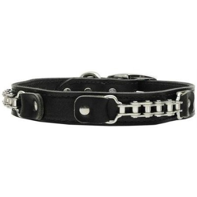 Mirage Pet Products 83-23 20BK Bike Chain Leather Collar Black 20