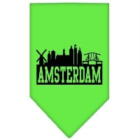 Mirage Pet Products 66-77 SMLG Amsterdam Skyline Screen Print Bandana Lime Green Small