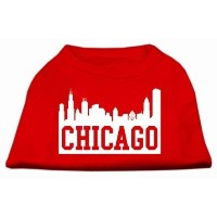 Mirage Pet Products 51-66 XXLRD Chicago Skyline Screen Print Shirt Red XXL - 18